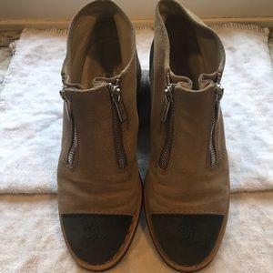 Chanel suede toe cap booties
